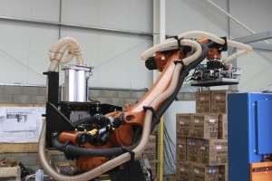 The KUKA KR180 PA Arctic Robot in operation in another customer's cold store environment